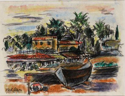ADLEN MICHEL (1898-1980)  Juan les pins  Crayons,...
