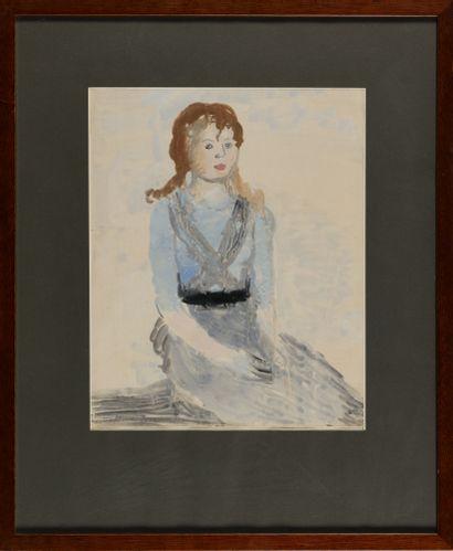 SAFRONOVA ANTONINA (1892-1966)  Fille en robe bleue  Aquarelle sur papier  Signé...