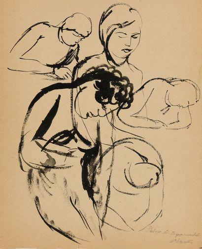 SAFRONOVA ANTONINA (1892-1966)  Dessin à double faces. « Femme avec un chat » et...