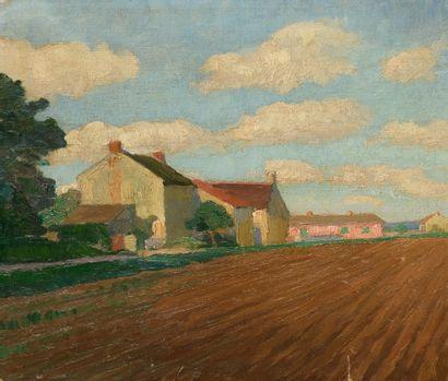 PORTNOFF MICHEL (1885-1978)  Paysage villageois,...