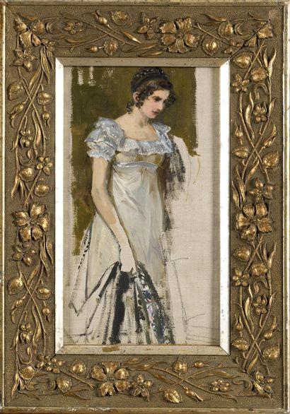 GOLOVIN Aleksandre (1863-1930)  Tatiana Larina, esquisse pour l'opéra « Eugène Onéguine...