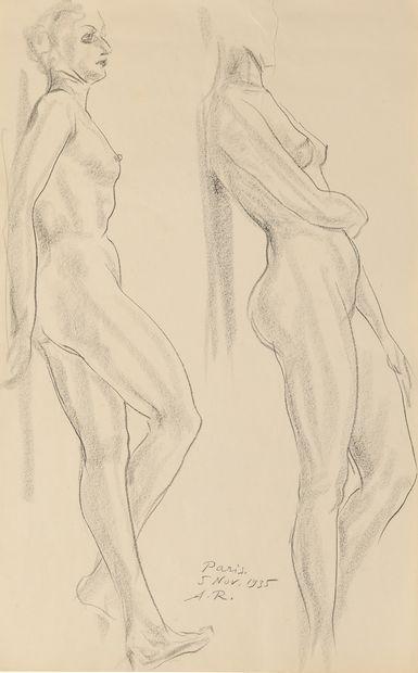 ROUBTZOFF ALEXANDRE  (1884-1949)  Nus  Crayon...