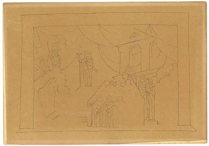 STRAVINSKY Théodore (1907-1989)  Dessin pour le décor de l'Opera OEdipe roi  Encre...