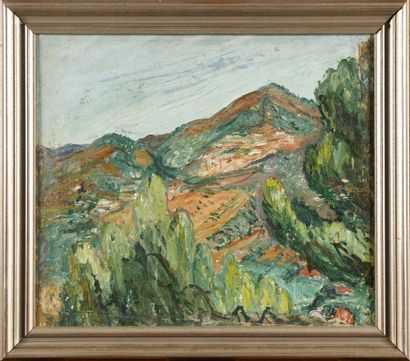 SCEKATICHINA-POTOCKAJA Aleksandra  (1892-1967)  Pyrénées  Huile sur toile montée...
