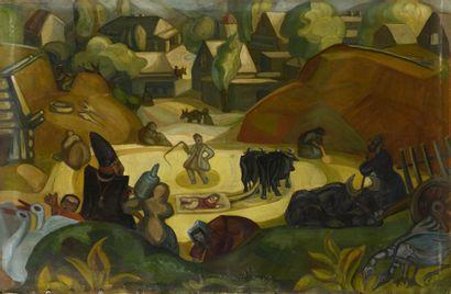 SUDEIKIN Sergei (1882-1946)  Scène en Géorgie...