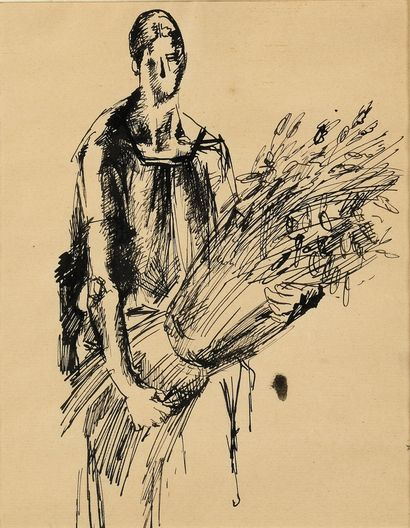 TCHELITCHEW PAVEL (1898-1957)  Paysanne  Encre...