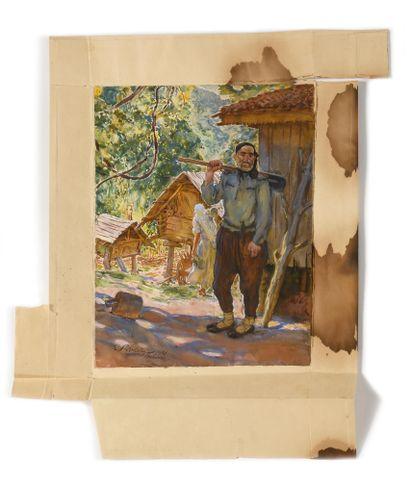 LANCERAY Eugene (1875-1946)  Batoum  Gouache et aquarelle sur papier  Signé, daté...