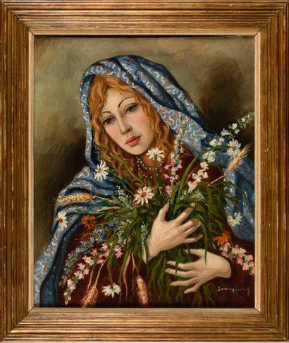 SOUNGOUROV ANTONIN (1894-?)  Femme au bouquet...