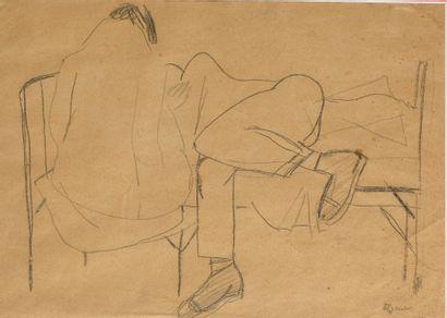 SUKHANOV BORIS (1900-1987)  Couple au lit  Dessin au crayon  Signé en bas à droite...
