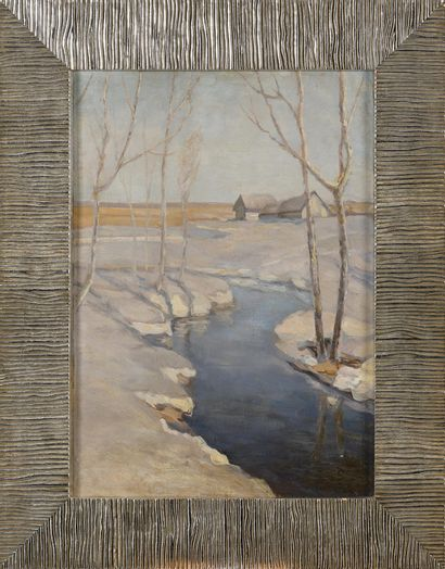 BJALYNICKIJ-BIRULJA Vitold (1872-1957)  Printemps  Huile sur carton  44 x 31,5 cm....