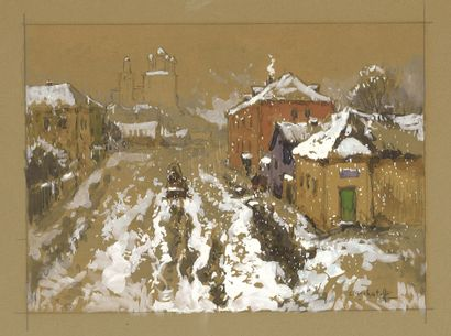 GORBATOV Konstantin (1876-1945)  Hiver à Pskov  Aquarelle, crayon, gouache sur carton...