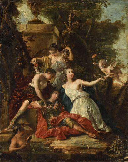 ECOLE HOLLANDAISE VERS 1720, ENTOURAGE DE VERKOLJE Renaud et Armide Toile Sans cadre...