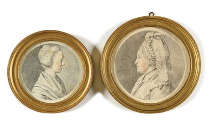 ÉCOLE FRANÇAISE DU XVIIIEME Portraits de famille Suite de quatre dessins aux trois...