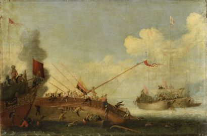 ATTRIBUE A CORNELIS DE WAEL (1592 - 1667) Scènes de combat contre les Turcs Paire...