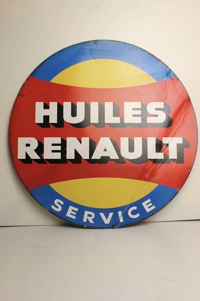 Plaque -Huiles Renault  Plaque ronde en tôle...
