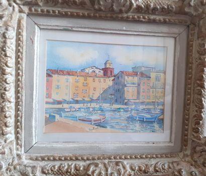 J. BORROT  Les barques vues du quai de Saint...