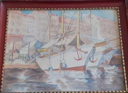R. TAILLEUR  Trois mâts dans le port de Saint...