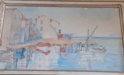 L. LELAIDIER  Les barques sur le port de...