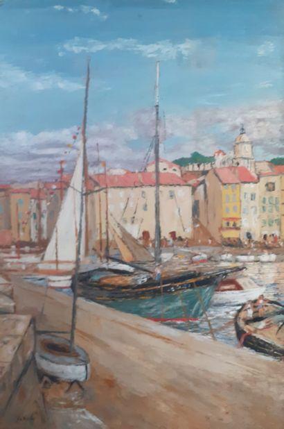 A. ROBIBE  Port de Saint Tropez  Huile sur...