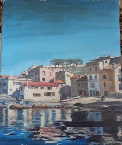 R. BALLUTEAU  Saint Tropez et son port  Huile...