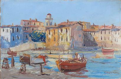 CHAUVIN  Le port de Saint Tropez aux façades...