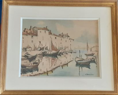 J. BENOISTON  Maisons et bateaux se reflétant...