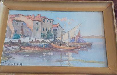 R. PERRET  Barques près du vieux port de...