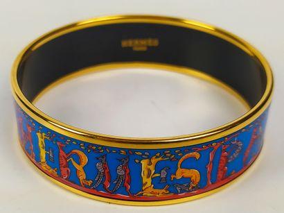 HERMES  Bracelet jonc en émail décor animaux....