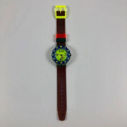 """SWATCH  Vers 1993.  Réf: SDN103.  Montre bracelet type scuba modèle """"Spay-Up"""".  Mouvement..."""
