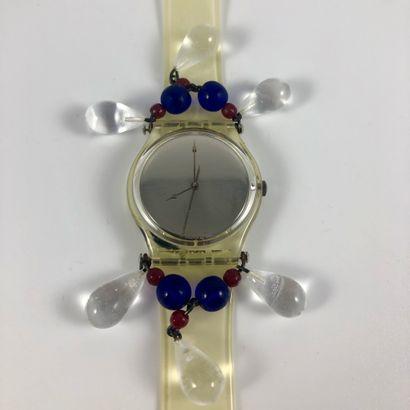 """SWATCH  Vers 1992.  Réf: GZ125.  Montre bracelet modèle """"Chandelier -Christmas '92..."""