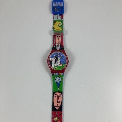 """SWATCH  Vers 1997.  Réf: GR134.  Montre bracelet modèle """"S-Stand - Les Champs de..."""