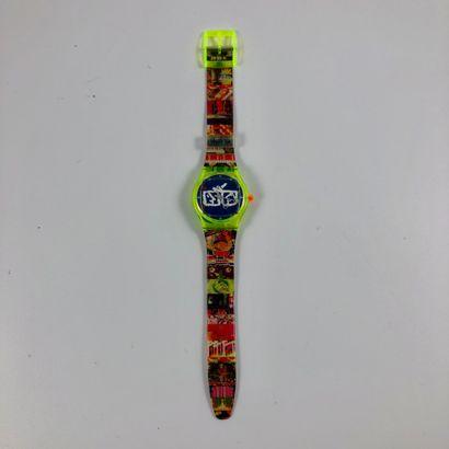 "SWATCH  Circa 1990.  Ref: SLZ104.  Wrist watch model ""Nam June Paik"".  Quartz movement...."