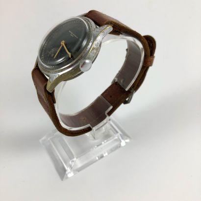 RECORD WATCH CO. Vers 1950. Réf: D5096XX. Montre bracelet en acier, boitier rond,...