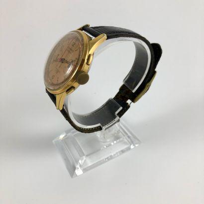 JEAN PERRET. Chronographe Suisse. Vers 1960. Compteur de secondes à 9 heures, des...