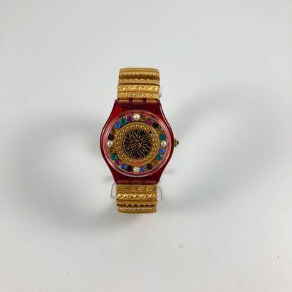 "SWATCH  Vers 1994.  Réf: GZ140.  Montre bracelet modèle ""Xmas by Xian Lax - Christian..."