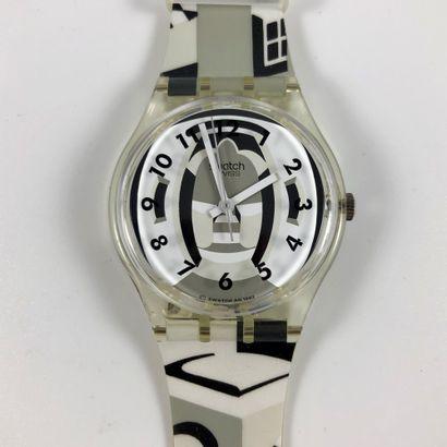 """SWATCH Vers 1993. Réf: GK169. Montre bracelet modèle """"Perspective"""". Mouvement quartz...."""