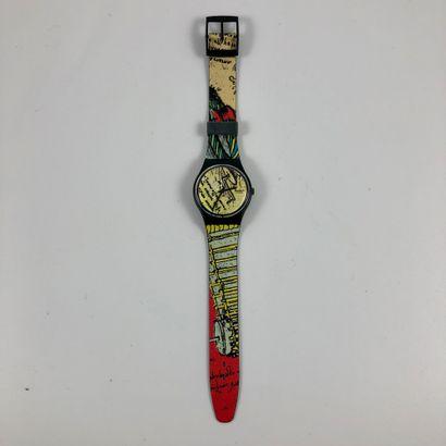 """SWATCH Vers 1990. Réf: GB139. Montre bracelet modèle """"Engineer"""". Mouvement quartz...."""