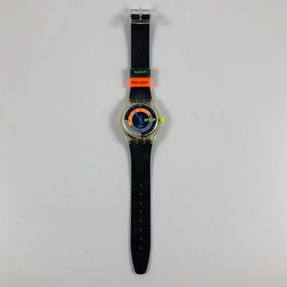 "SWATCH  Vers 1993.  Réf: SSK100.  Montre bracelet type stop watch modèle ""Coffee..."