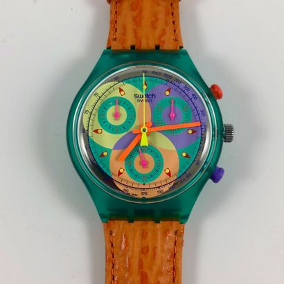 "SWATCH  Vers 1993.  Réf: SCL102.  Montre bracelet type chronographe modèle ""Sound""...."