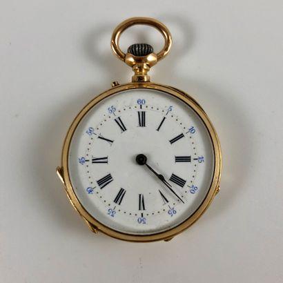 Montre de gousset en or  Vers 1900.  Boite en or jaune 750/1000, mouvement mécanique...