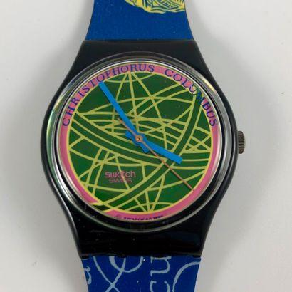 """SWATCH Vers 1990. Réf: GB137. Montre bracelet modèle """"The Globe"""". Mouvement quartz...."""