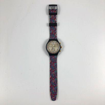 "SWATCH  Vers 1992.  Réf: SCB108.  Montre bracelet type chronographe modèle ""Award""...."