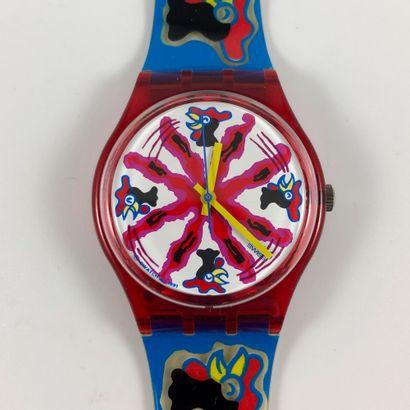 """SWATCH  Vers 1992.  Réf: LB129.  Montre bracelet modèle """"Investment"""".  Mouvement..."""