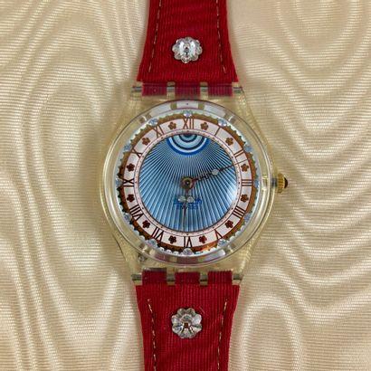 """SWATCH  Vers 1993.  Réf: GZ127.  Montre bracelet modèle """"Roi Soleil"""".  Mouvement..."""