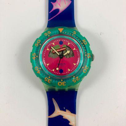 """SWATCH  Vers 1991.  Réf: SDN100.  Montre bracelet type scuba modèle """"Blue Moon""""...."""