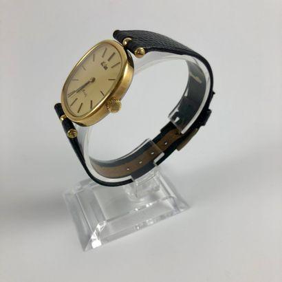 ESKA St. Moritz Montre bracelet Eska en plaqué or jaune. Boitier coussin. Cadran...