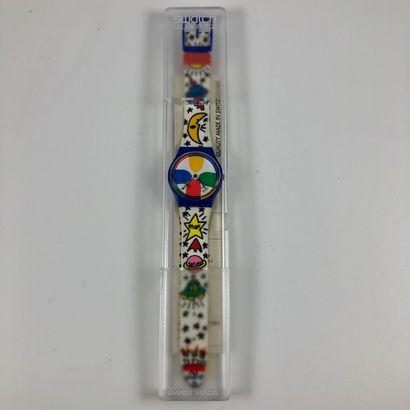 """SWATCH  Vers 1993.  Réf: GN134.  Montre bracelet modèle """"Space people - Castelbajac""""...."""