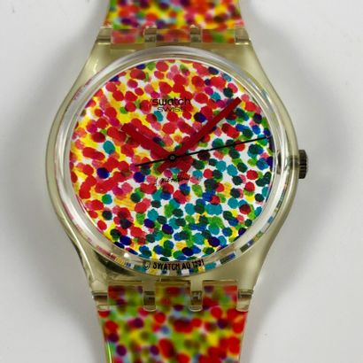 "SWATCH Vers 1992. Montre bracelet modèle ""Lots of Dots n°2 - Swatch Collector's..."