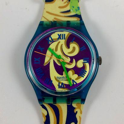 """SWATCH Vers 1993. Réf: GN119. Montre bracelet modèle """"Perroquet"""". Mouvement quartz...."""