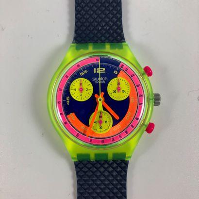 "SWATCH  Vers 1991.  Réf: SCJ101.  Montre bracelet type chronographe modèle ""Grand..."